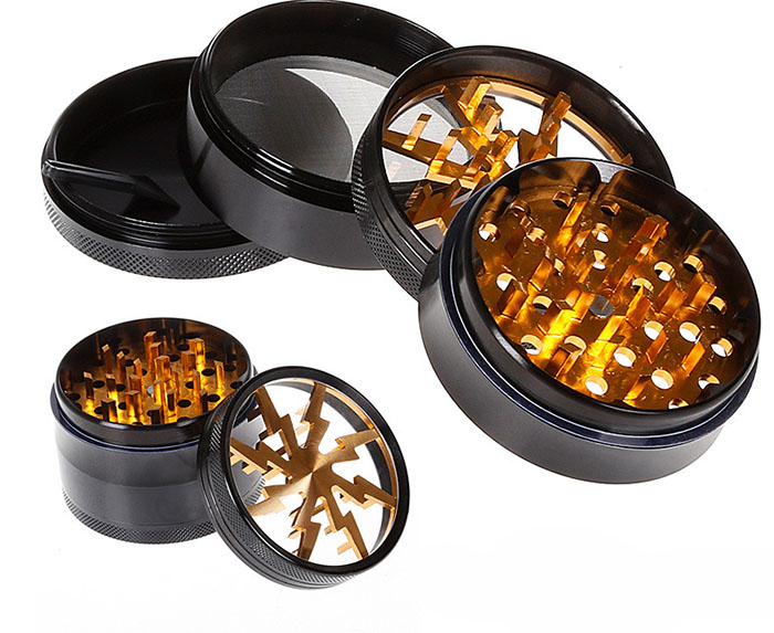 Transparent open sunroof Lightning grinder Diameter 63MM Four-layer aluminum alloy Metal grinders