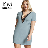 Kissmilk 2017 Plus Size Women Clothing Loose Causal Cut Out Dresses V Neck Solid Dress With