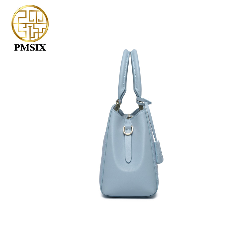 Pmsix luxurious ladies bags real split leather printing Flowers Handbags for women  light blue tote bag High quality classic bag