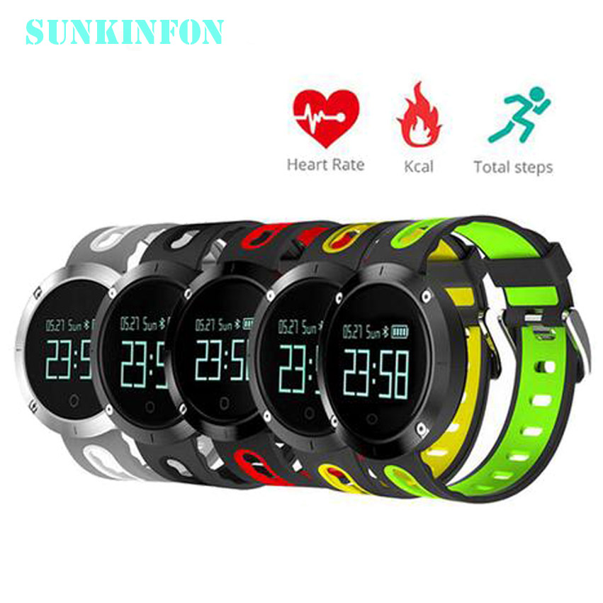 2017 NEW SKFDM58 DM58 Bluetooth 4.0 Smart Watch Heart RateBlood Pressure Fitness Tracker Waterproof Sports Watch for IOS Android