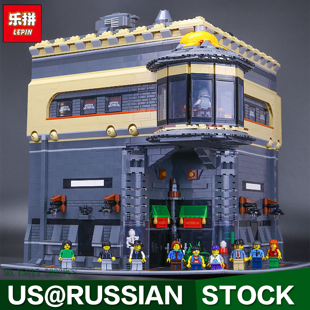LEPIN 15015 City Creator The dinosaur museum Model Building Kits 5003pcs Brick Toy lepin 15018 3196pcs creator city series sunshine hotel model building kits brick toy compatible christmas gifts