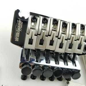 Image 3 - Wilkinson Licensed 6 String Electric Guitar Double Locking Tremolo System Bridge 42mm R2 Nut Chrome Silver Black WODL1