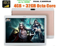 2017 Nueva 10 pulgadas 4G LTE Tablets Octa Core Android 6.0 RAM 4 GB ROM 64 GB Dual Tarjetas SIM 1920*1200 IPS HD de 10.1 pulgadas Tablet pc + Gifs