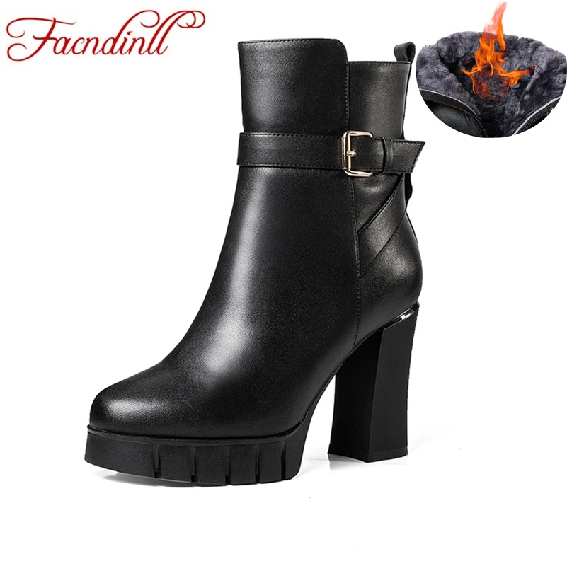 Фото FACNDINLL women winter snow boots genuine leather fur warm high heels platform black zipper shoes woman dress party ankle boots