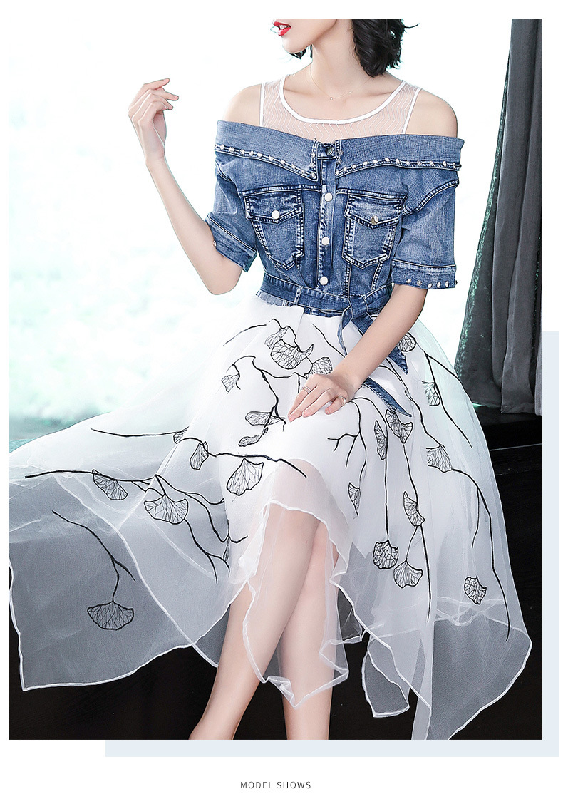 Ladies fashion 18 summer dress women elegant sweet slim O-neck half sleeve irregular Printing organza stitching denim dresses 5