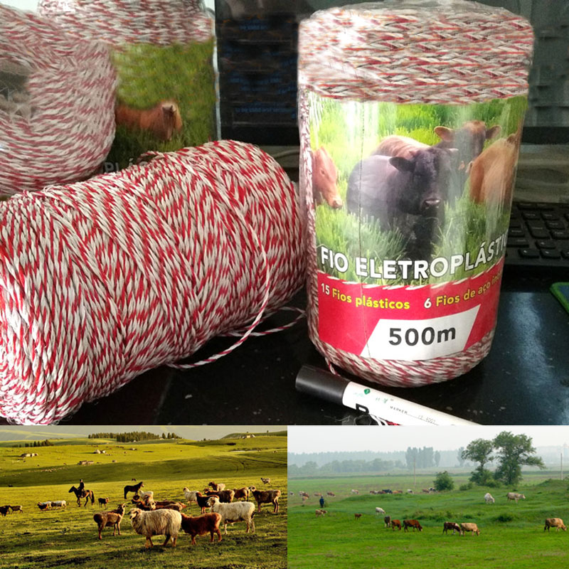500 Meters Electric Fence Poly Wire Red White Polywire with Steel Wire Poly Rope For Horse Fencing Ultra Low Resistance Hot Wire in Fencing Trellis Gates from Home Garden