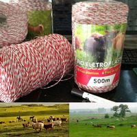 500 Meters Electric Fence Poly Wire Red White Polywire with Steel Wire Poly Rope For Horse Fencing Ultra Low Resistance Hot Wire|Fencing  Trellis & Gates| |  -