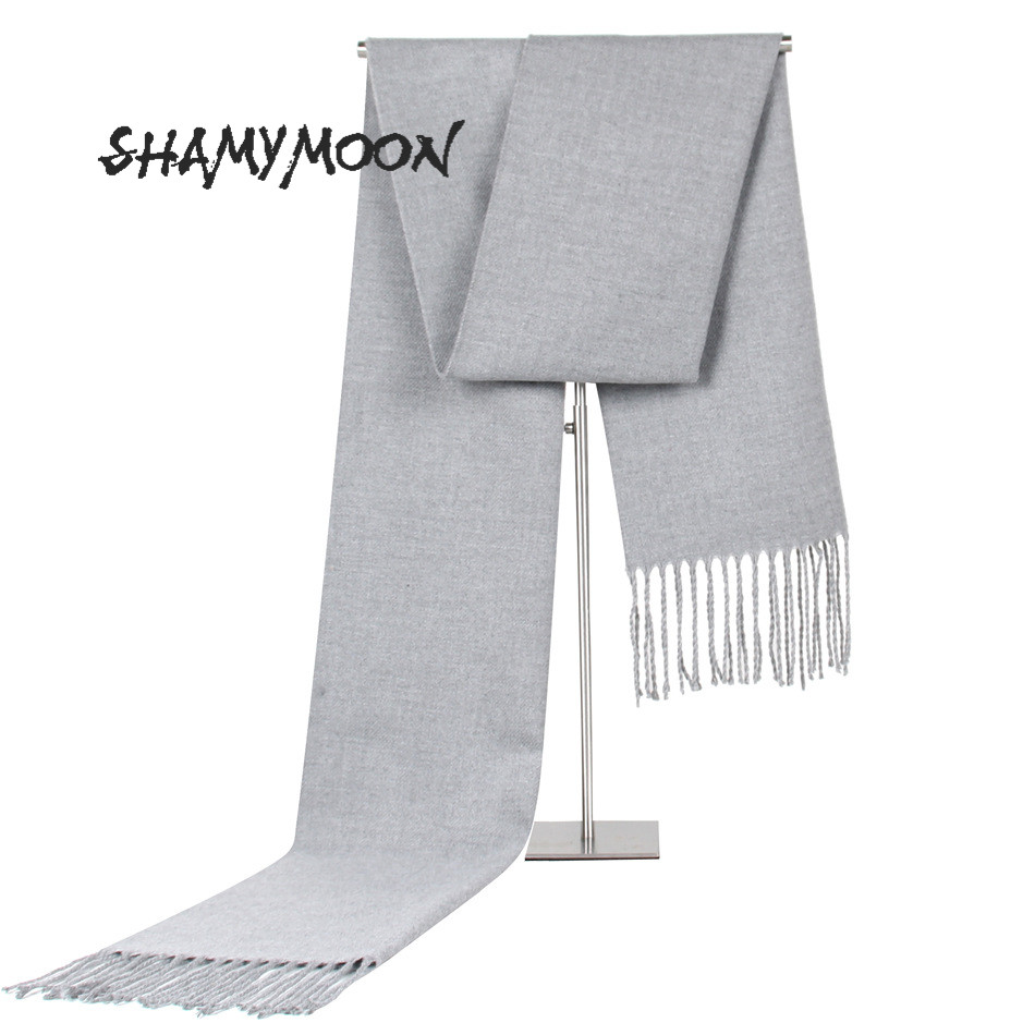 SHAMYMOON Winter Scarves Neckerchief Tassel Wool Warm Autumn High-Quality Fashion Solid