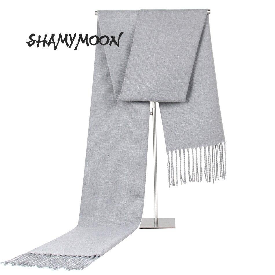 SHAMYMOON Men Scarf Fashion Solid Simple Autumn Winter Scarves Men's Wool Spinning Tassel Warm High Quality Neckerchief SC021