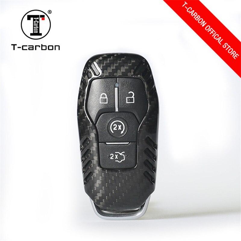 Coque de support du couvercle de boitier en Fiber de carbone à 4 boutons pour Ford Focus/Fiesta/Mustang/Mondeo/Kuga/Eco sport/Edge/Exploror