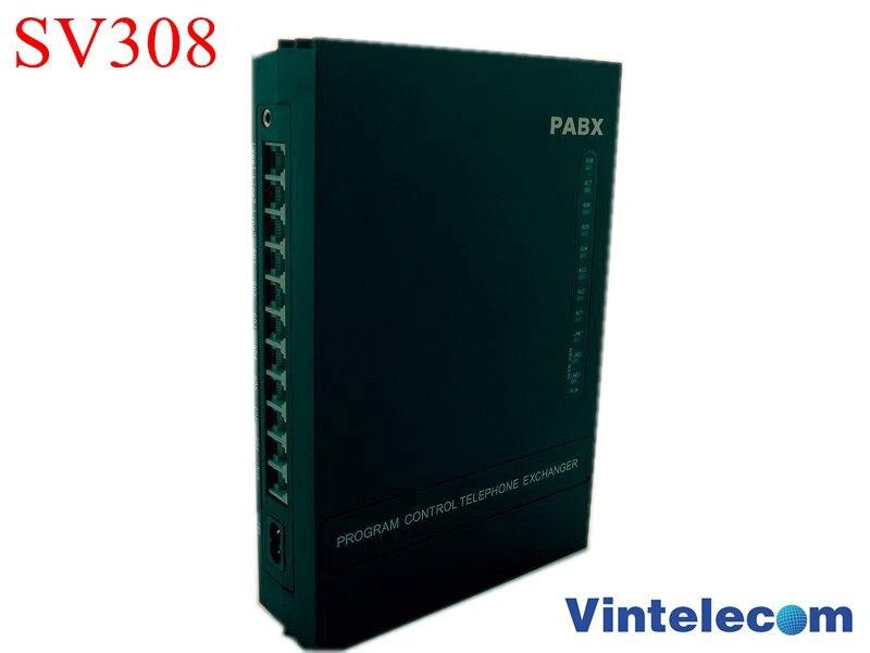 Vente chaude VinTelecom SV308 3CO + 8Ext PBX/échangeur téléphonique/système de téléphone/Mini PABX/SOHO PBX/petit pabx-promotion