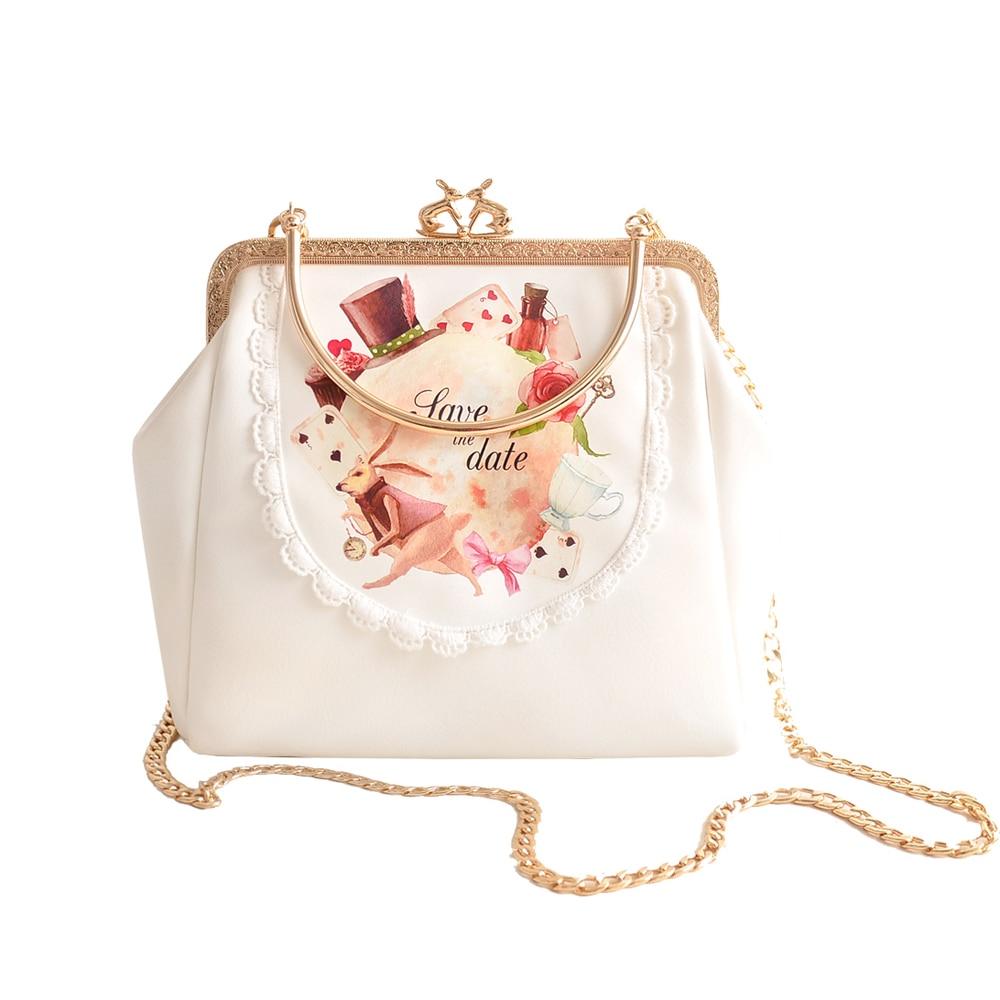 Princess sweet lolita bag Original bag girl tide Alice cute adorable rabbit slanting hand chain mouth gold pocket clip bag CC132