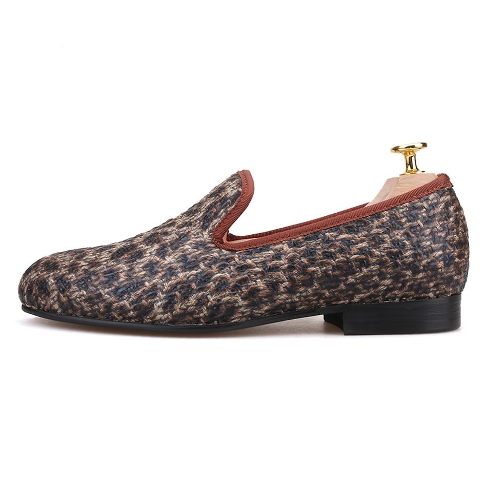 De Marrom Especiais Padrão Britânico Fumar Mocassins Masculina Sapatos Casuais Artesanais Piergitar Estilo Novo Chinelo Tecidos Moda Homens Leopardo nR6TWE4xqW