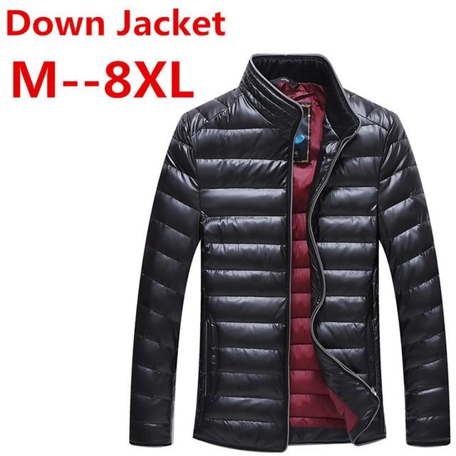 US $53.2 5% OFF|8XL 7XL 6XL 5XL Herbst Winter Ente Unten Jacke, ultra Licht Dünne plus größe jacke für männer Mode Oberbekleidung mantel freies