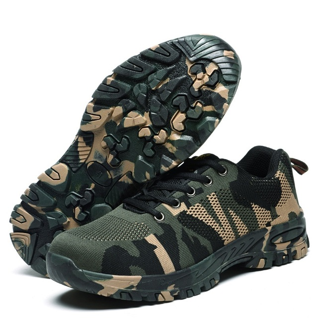 Sports Shoes Camouflage Labor Safety Shoes For Women Safety Shoes Anti Break Piercing Mountaineering Outdoor Travel Shoes Man