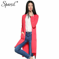 Spring Autumn Cardigan Women Long Sleeve Solid Color Women Sweater Long Style Causal Cardigans Female Pockets