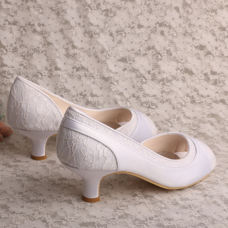 Wedopus Women White Open Toe Pumps Small Heel D orsay Wedding Pumps Ivory  Lace and Satin-in Women s Pumps from Shoes on Aliexpress.com  a815c641147f