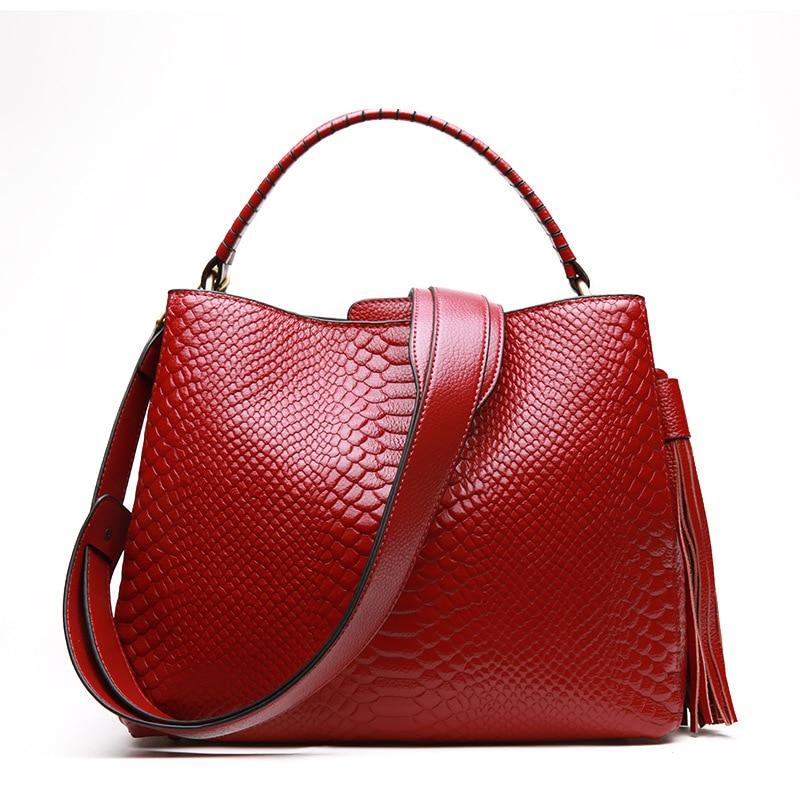 2018 Winter Cool Handle Women s Handbag Real Leather Crocodile Pattern Large Capacity Ladies Shoulder Bag