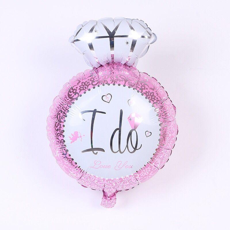 Anel de Noivado de Diamante Folha De Mylar Balão de Hélio gigante Azul Rosa Letra Impressa Rodada Balão para o Casamento da Festa de Noivado