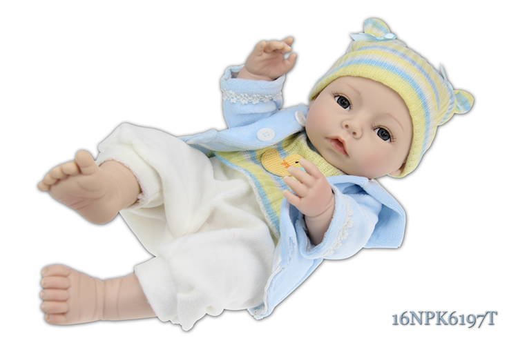 0e10f0c837d23 Full Silicone vinyl dolls Cute toy lifelike reborn baby boy doll 40cm  learning education babies -in Dolls from Toys   Hobbies on Aliexpress.com