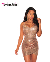 New 2016 Fashion Summer Sexy Style Women Backless Dresses Sleeveless Rose Gold Sequin Ruched Club Dress