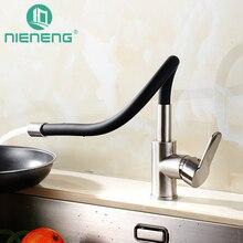 Nieneng кухня кран Смесители Раковина Chrome Pull Down нажмите сопла распылителя горячей воды смесителя ванной кран Torneira ICD60395
