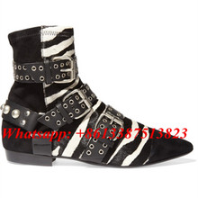 Short Boots Rolling Printing Zebra Fur Suede Leather Ankle Boots Belt Buckle Stud Wyatt Biker Harness Women Booties Shoes Woman