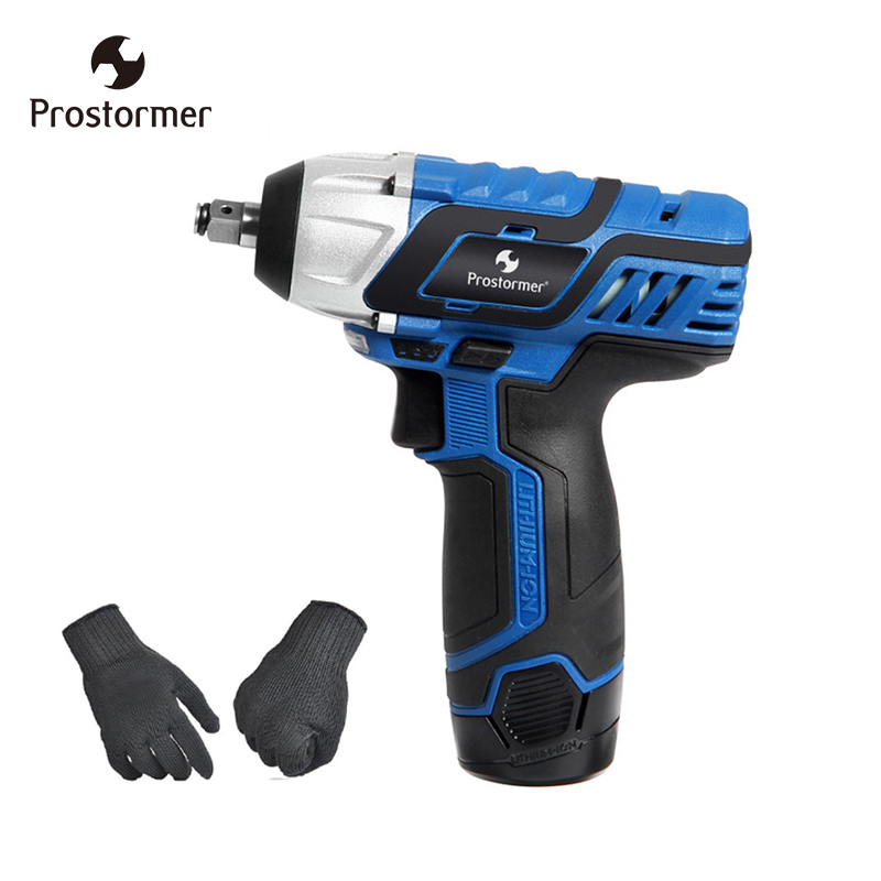 Prostormer rechargeable Electric wrench 12V 3/8 Lithium Battery Cordless Wrench 2400RPM Home Repair PowerTool can choose gloves