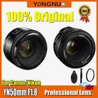 YONGNUO YN50mm lente F1.8 gran apertura Auto foco YONGNUO DSLR lente de cámara para canon D800 D300 D700 D3200 D3300 D5100