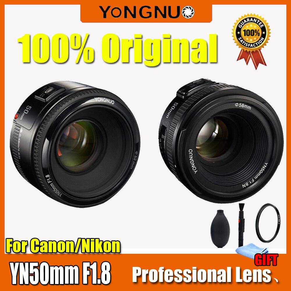 Yongnuo yn50mm lente f1.8 grande abertura foco automático yongnuo dslr lente da câmera para canon para nikon d800 d300 d700 d3200 d3300 d5100