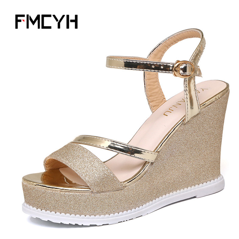 FMCYH Women Dress Shoes Summer Sandals Fashion High Heel Sandal Ladies Bling Gold Wedges Pumps Buckle Strap Women Platform Shoes xiaying smile summer new woman sandals platform women pumps buckle strap high square heel fashion casual flock lady women shoes page 7