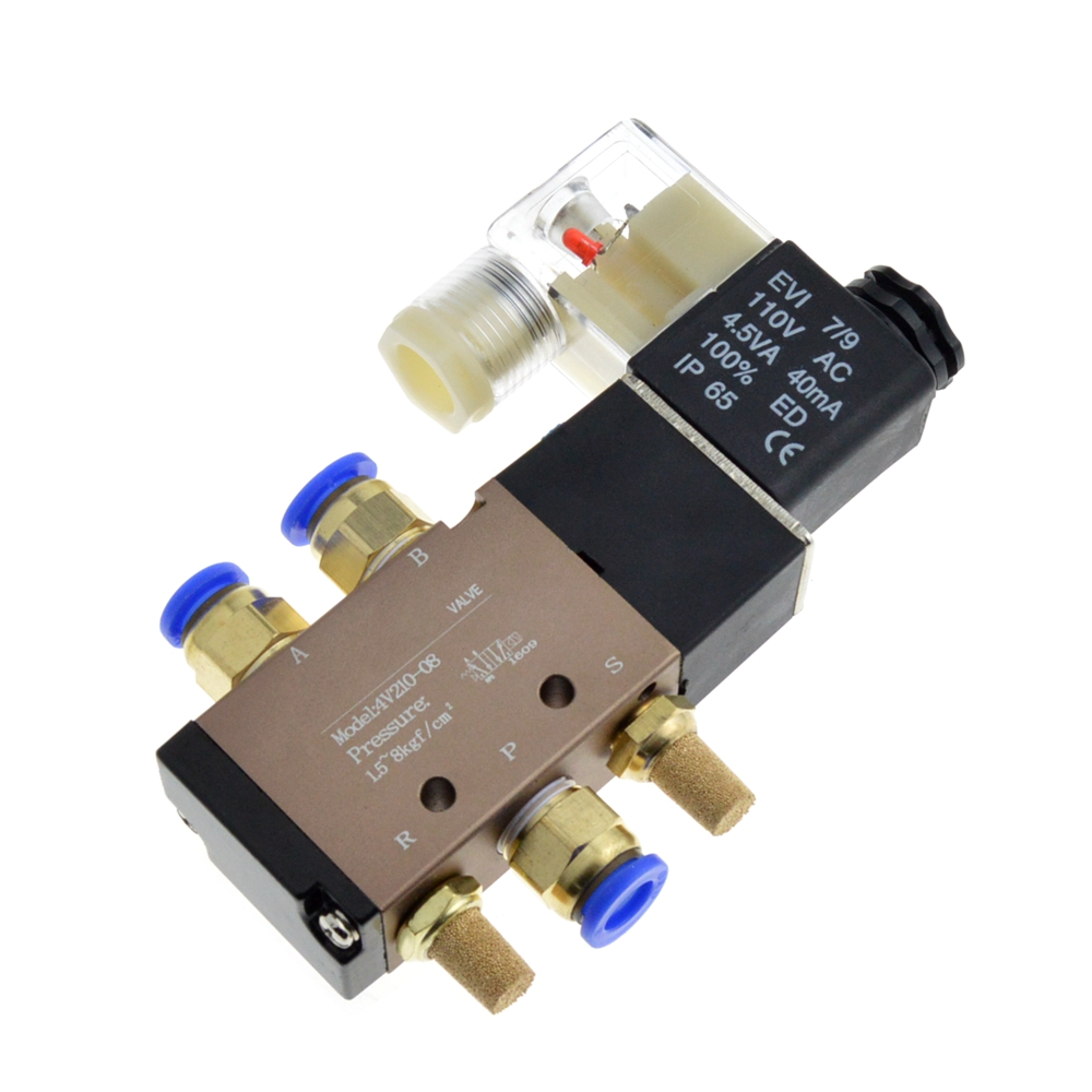 4V210 08 Single Coil DC 24V 2 Position 5 Port Ways Pneumatic Air Control Solenoid Valve