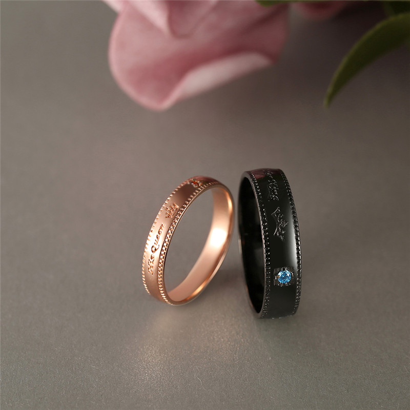 BOAKO Promise Couple Rings Trendy Her King & His Queen Custom Crytal Stone Crown Charm Copper Wedding Ring for Women Men X7-M2