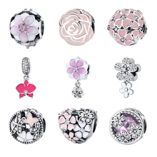 2017 Original Authentic 925 Sterling Silver Bead Charm Flower Bloom Enamel Crystal Beads Fit Pandora Bracelets Women DIY Jewelry