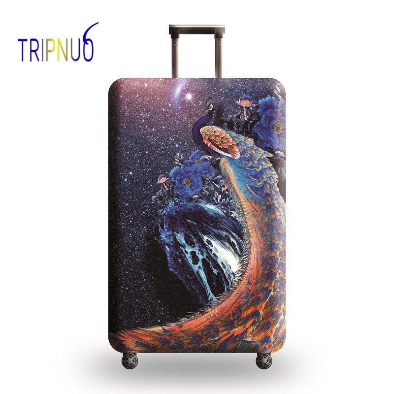 TRIPNUO Peacock Luggage Cover Travel Accessories 18-32 Inch Travel Trolley Dustproof Suitcase Protective Cover Elastic