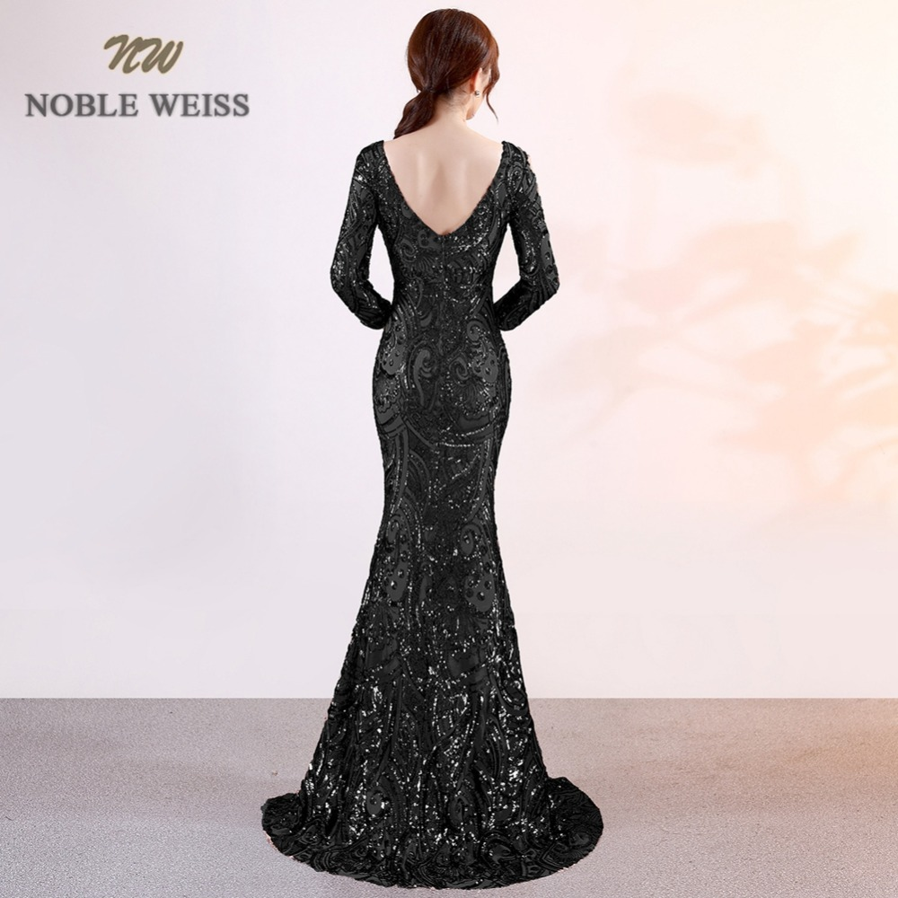 Image 4 - prom dresses 2019 sexy long mermaid prom dress vestidos de fiesta largos v neck backless side slit sequin evening gowns-in Prom Dresses from Weddings & Events