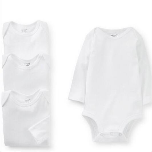 2f4a35965d baby boy bodysuits plain white round neck long-sleeved 100% cotton triangle  briefs fashion