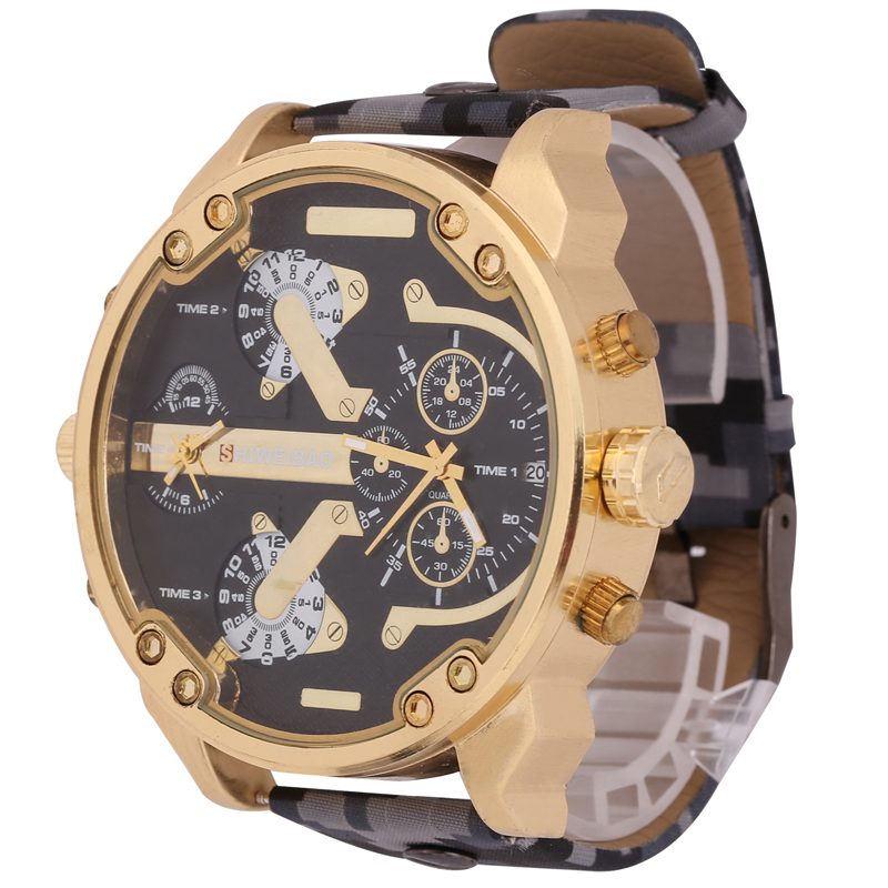 Hot Sale Big Case Style Military Watch Men Camouflage Leather Strap Sport Watches For Men Quartz Relogio Masculino D Male Clock