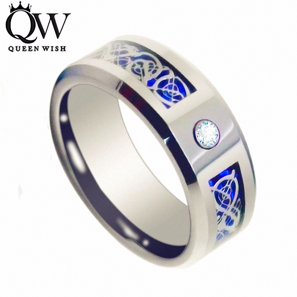 Queenwish 8mm cz silver celtic dragon tungsten carbide for Wedding ring for a man