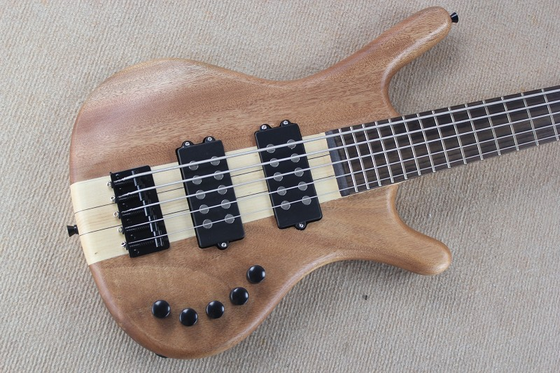Newest one piece maple neck W LTD Corvette 5 strings Burlywood electric bass with 9V Battery active pickups 15 6 25
