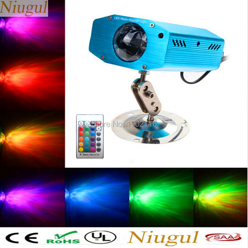 Niugul HOT New Arrival IR Remote 7 color LED Water Wave Ripple Effect Stage Light led Lamps Music Auto Party DJ disco Projector