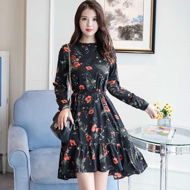 16b5c6de69 korean fashion 2019 new fashion women long sleeve floral print dress spring  mori girl flower chiffon