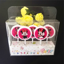 5pcs/lot Minnie Mouse Party Supplies Kids Birthday Candles Evening Party Decorations Set Birthday Wedding Party Cake Candles