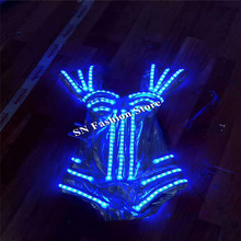 HH83 Sexy women dance led dresses led costumes dj wears stage show RGB light clothing shoulder