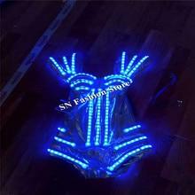 Hh83 пикантные женские Танцы платья LED светодиодный костюмы DJ носит шоу на сцене RGB света одежда плечо яркая бар косплей танцы