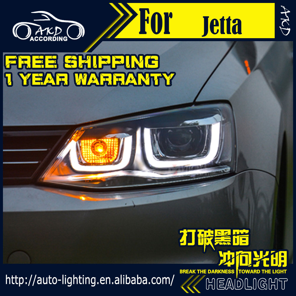 AKD Car Styling Head Lamp for VW Jetta LED Headlight 2011-2015 Double U Angel EYE Jetta LED DRL H7 D2H Hid Option Bi Xenon Beam hireno headlamp for 2011 2015 toyota fortuner headlight assembly led drl angel lens double beam hid xenon 2pcs