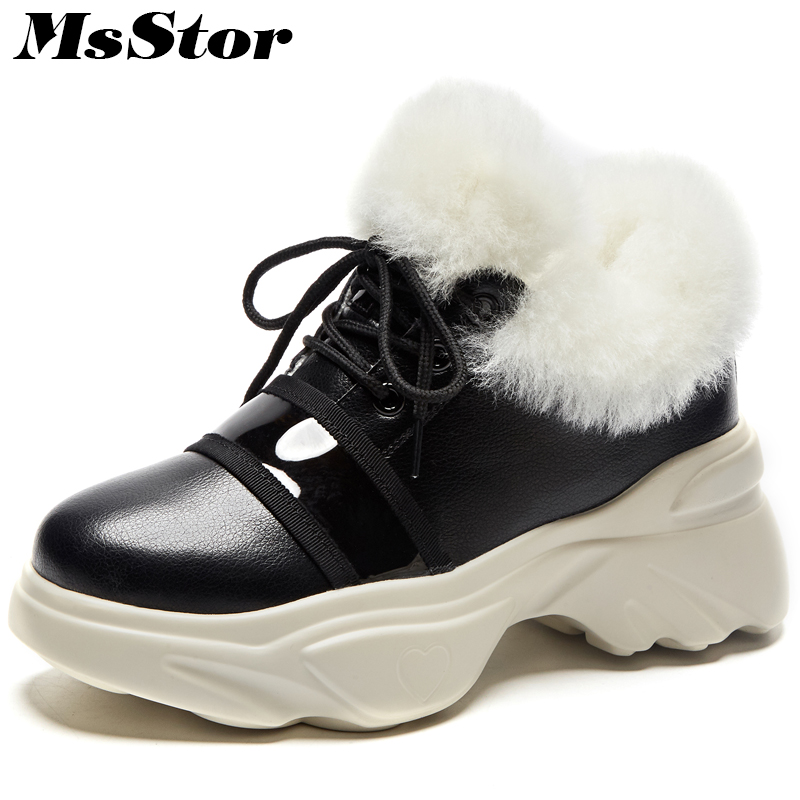 MsStor Women Snow Boots Lace Up Keep Warm Ankle Boots For Woman Winter Shoes Platform Wool Cotton Snow Boots Shoes For Woman platform bowkont flocking snow boots page 9