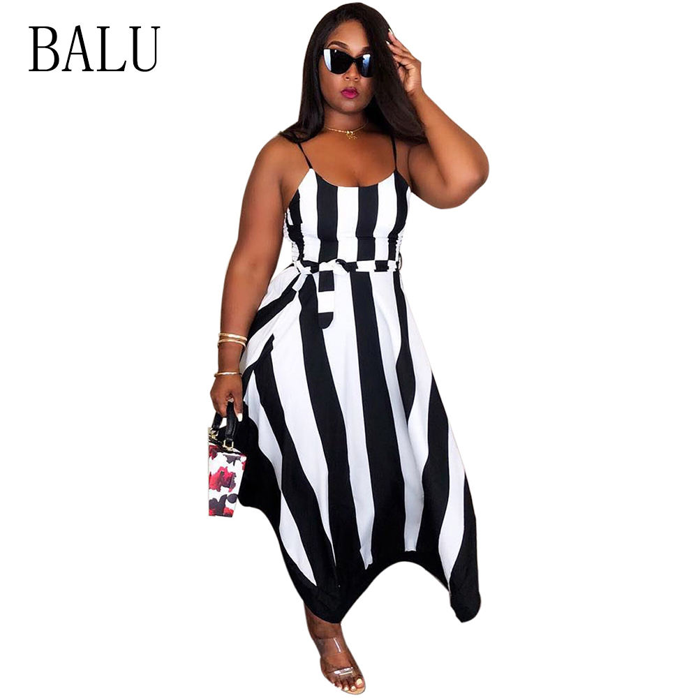 BALU Strip Spaghetti Strap Maxi Dress With Belt For Women 2019 Summer Boho Loose O Neck Sleeveless Bandage Beach Dresses