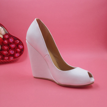 White Handmade Women Shoes Fashion Wedges Peep Toe Pumps Sandal High Heel Slip-ons Summer Style Ladies Shoes Zapatos Mujer