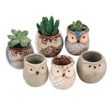 6Pcs/Set Ceramic Owl Pot Succulent Plant Cactus Flower Pot Container Planter Bonsai Pots J2Y